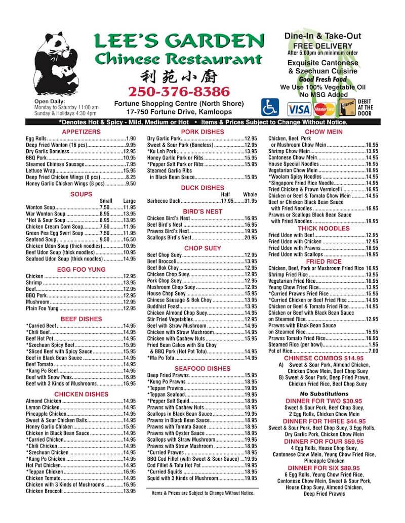 lee's garden kamloops – foodmenus – restaurant menus in bc